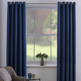 Chester Navy Thermal Eyelet Curtains