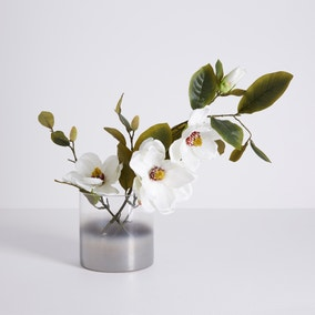 5A Fifth Avenue Cream Magnolia in Smoked Glass Vase