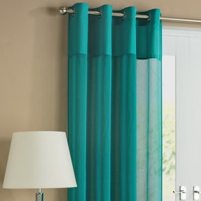 Rio Teal Pair of Voile Curtains