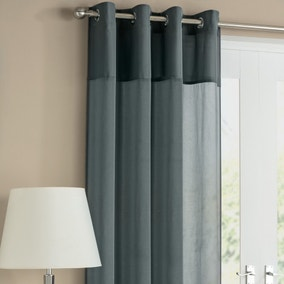 Rio Grey Pair of Voile Curtains