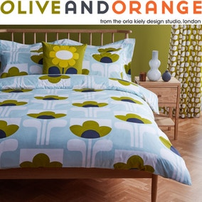 Olive & Orange Big Tulip 100% Cotton Duck Egg Duvet Cover and Pillowcase Set