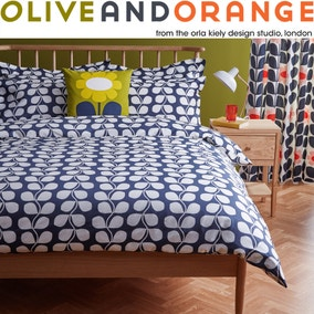 Olive & Orange Rambling Leaf 100% Cotton Grey Duvet Cover and Pillowcase Set