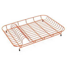 Spectrum Orange Wire Plate Rack