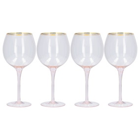 Blush Set of 4 Wine Glasses with Gold Rim