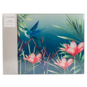 Hummingbird Pack of 4 Teal Glass Placemats