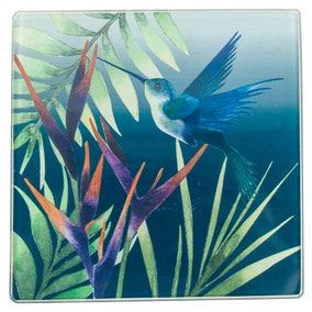 Hummingbird Pack of 4 Teal Glass Coasters