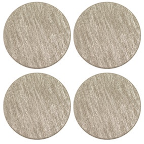 Pack of 4 Faux Leather Champagne Coasters