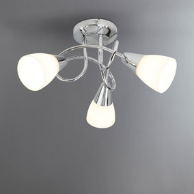 Chrome 3 Light Opal Glass Ceiling Fitting