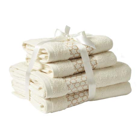 4 Piece Gold Embroidered Stars Towel Bale