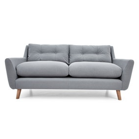 Halston Blue Fabric 3 Seater Sofa