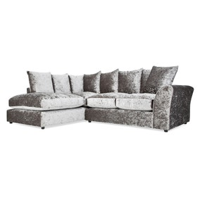 Seattle Silver Velvet Large Left Hand Corner Sofa