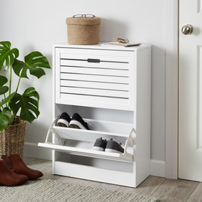 Slatted Two Drawer Shoe Cabinet