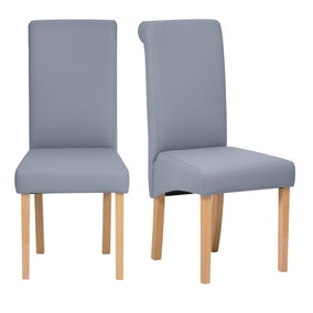 Brooke PU Grey Pair of Dining Chairs