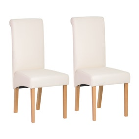 Brooke PU Ivory Pair of Dining Chairs