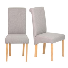 Brooke Grey Fabric Pair of Dining Chair