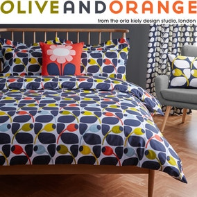 Olive & Orange Olive 100% Cotton Duvet Cover and Pillowcase Set