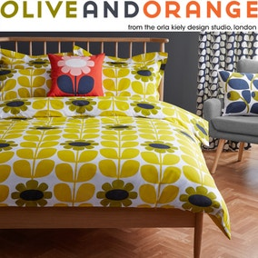 Olive & Orange Tall Flower 100% Cotton Yellow Duvet Cover and Pillowcase Set