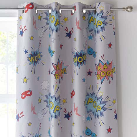 Superpop Blue Eyelet Curtains