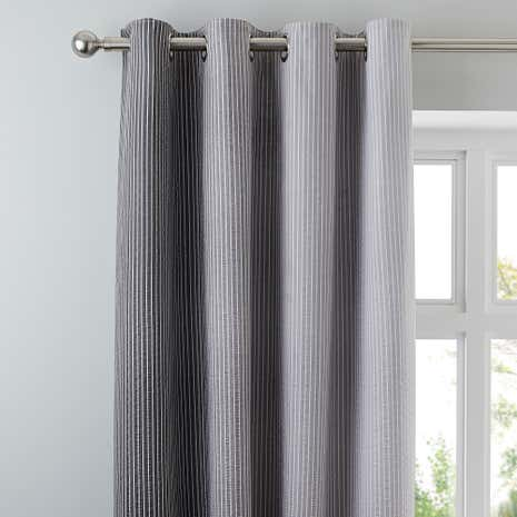 Ombre Seersucker Striped Charcoal Eyelet Curtains