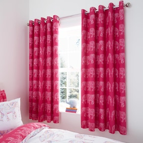 Elephant Pink Blackout Eyelet Curtains