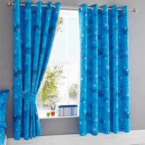 Sharks Navy Blackout Eyelet Curtains