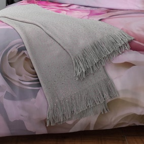 Silver and Pink Metallic Knit Throw