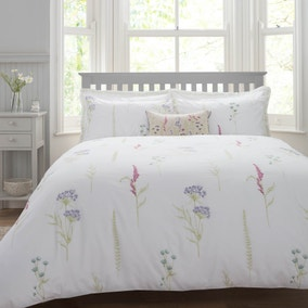 Spring Meadow Embroidered Duvet Cover and Pillowcase Set