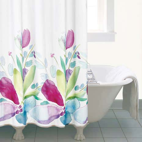 floral shower curtain. Mila Floral Shower Curtain