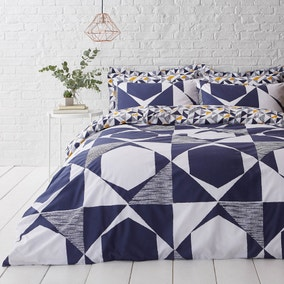 Elements Jaxson Reversible Navy Duvet Cover and Pillowcase Set