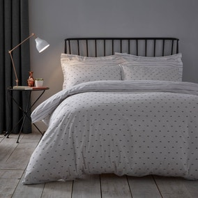 Elements Ezra 100% Cotton Reversible White Duvet Cover and Pillowcase Set