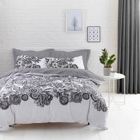 Elements Zia Reversible Black & White Duvet Cover and Pillowcase Set