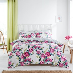 Florrie Reversible Pink Duvet Cover and Pillowcase Set