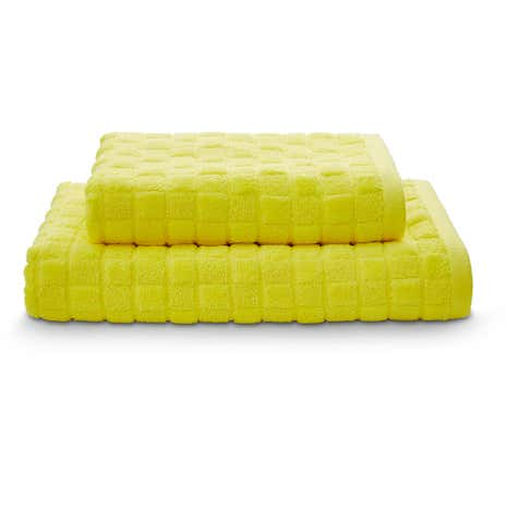 Sculptured Squares Yellow Towel