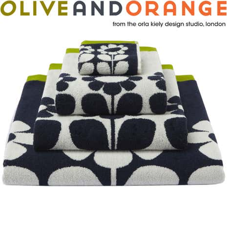 Olive and Orange Tall Flower Slate Towel