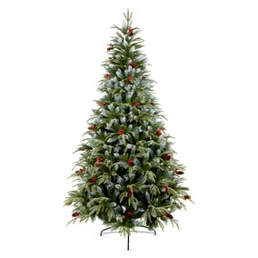 8FT Frosted Flocked Berry & Pinecone Spruce Tree