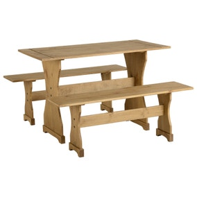 Corona Pine 4 Seater Dining Set with 2 Benches
