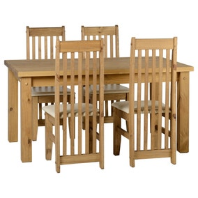 Tortilla Pine 4 Seater Dining Set