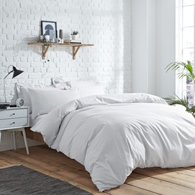 Elements Easycare Plain White Duvet Cover and Pillowcase Set