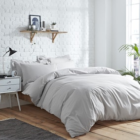 Elements Easycare Plain Platinum Duvet Cover and Pillowcase Set