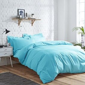 Elements Easycare Plain Maui Blue Duvet Cover and Pillowcase Set