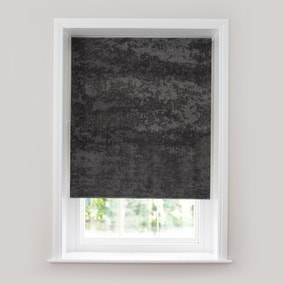 Crushed Velour Charcoal Thermal Roller Blind