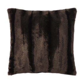 Brown Striped Faux Fur Cushion