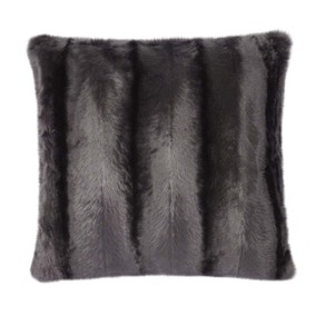 Charcoal Striped Faux Fur Cushion
