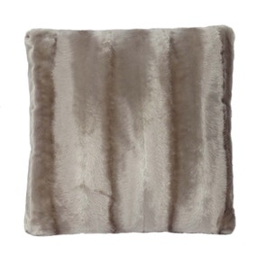 Taupe Striped Faux Fur Cushion