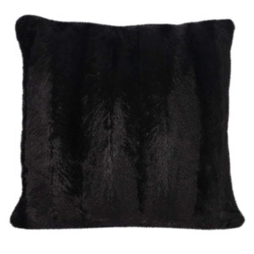 Black Striped Faux Fur Cushion