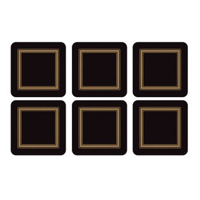 Pimpernel by Portmeirion Classic Black Pack of 6 Coasters