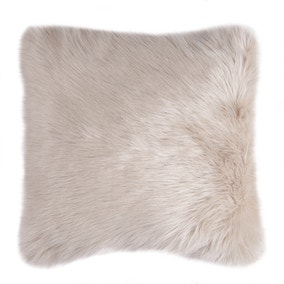 Fluffy Faux Fur Cream Cushion Cover