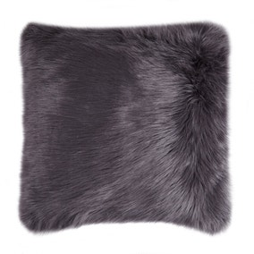 Fluffy Faux Fur Charcoal Cushion Cover