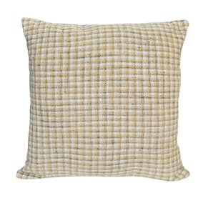 Addison Checked Ochre Cushion
