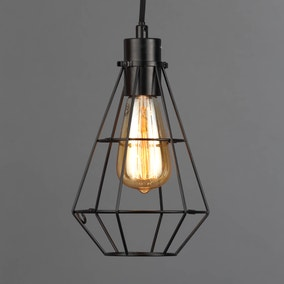 Portland Black Caged Wall Light